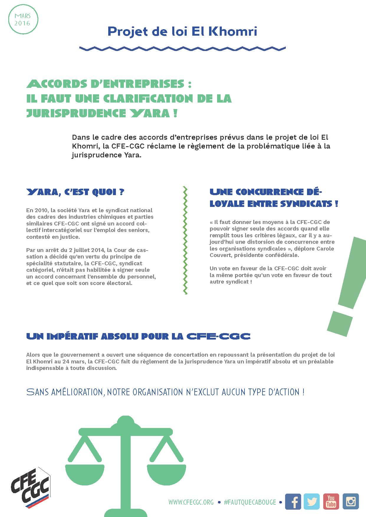 1. TRACT - ACCORDS D'ENTREPRISES - IL FAUT UNE CLARIFICATION DE LA JURISPRUDENCE YARA