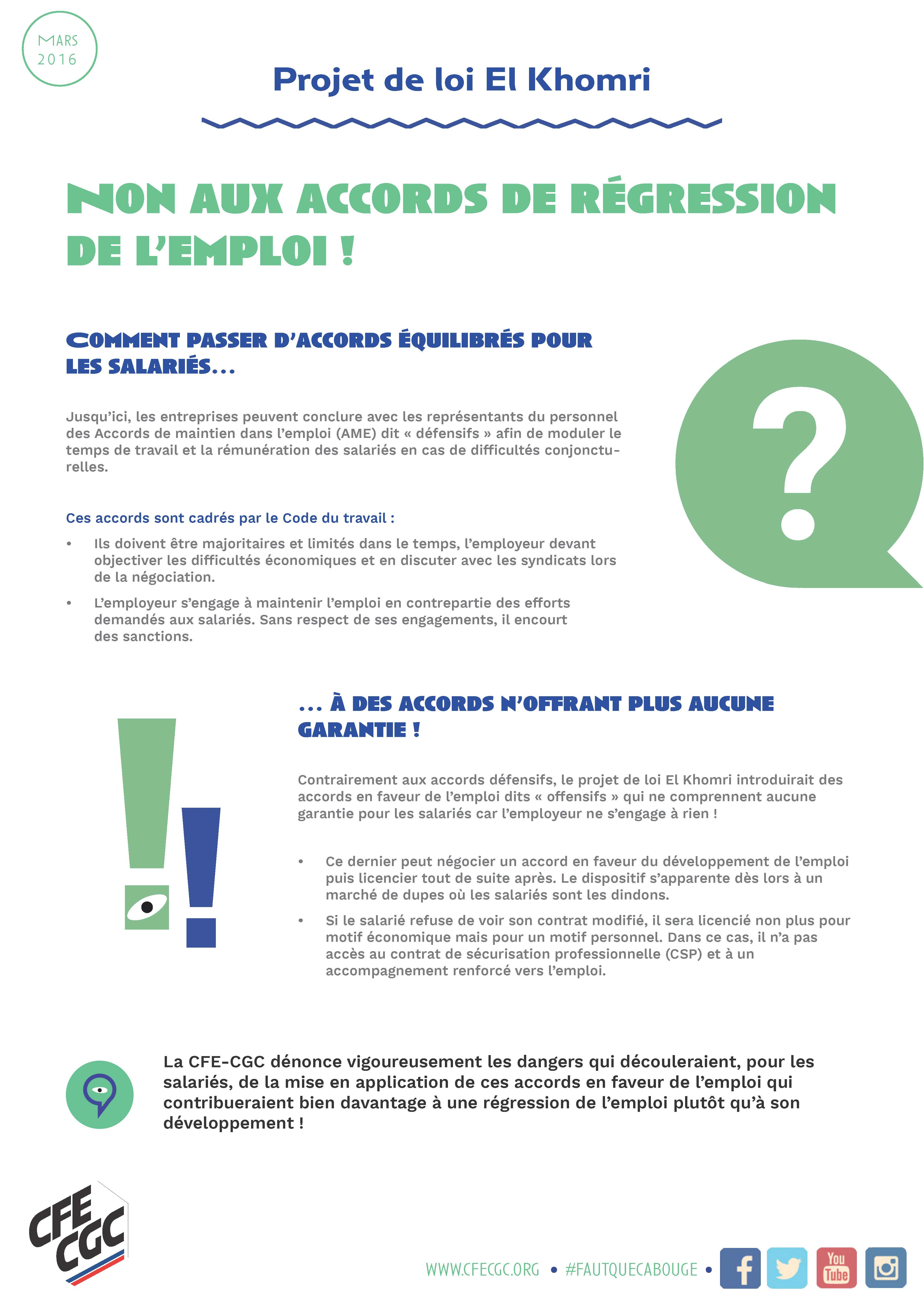 5. TRACT - NON AUX ACCORDS DE REGRESSION DE L'EMPLOI