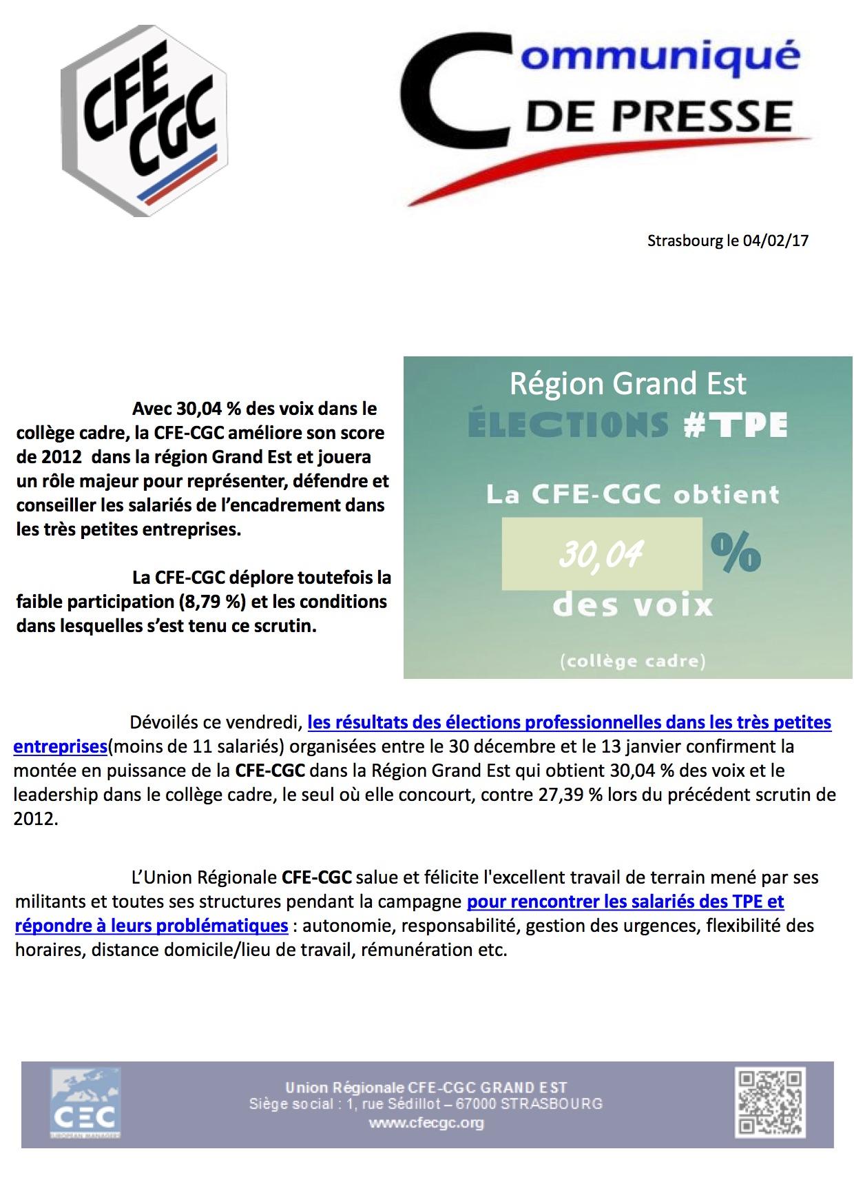 7126553f106 Cliquez sur ce lien pour télécharger le Communiqué de Presse CFE-CGC  Grand-Est TPE 2017